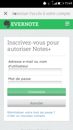 Appli Notes sur Firefox OS – inscription à Evernote
