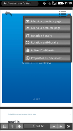 PDF viewer, doc avec menu