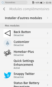 Firefox OS : add-ons : Paramètres : Modules complémentaires : Mes modules