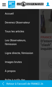 France 24 : menu Les Observateurs