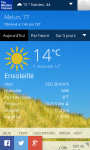 The Weather Channel : vue Aujourd'hui
