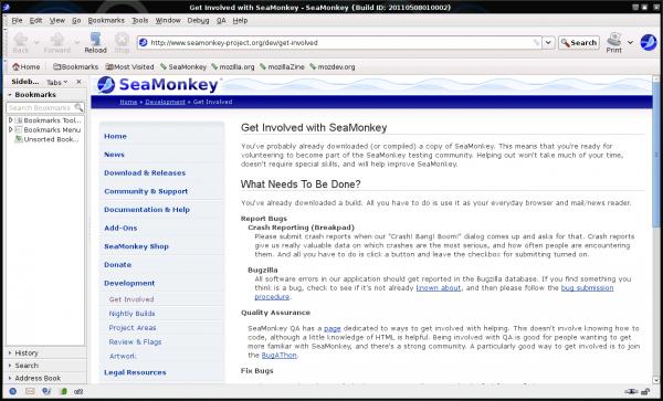 SeaMonkey browser sous Linux