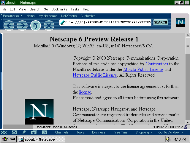 Netscape 6 Peview Release 1